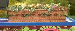 Wicker coffin for green burial