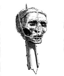 Cromwell's Head as exposed after his post-mortem decapitation. From Wikipedia Commons
