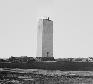 The Washingon Monument in 1860, photographed by Matthew Brady