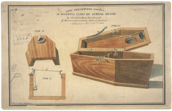 "Thanks to Michael Robinson for the link to the illustration. 11/15/1843 Records of the Patent and Trademark Office National Archives Identifier: 595517 This is the printed patent drawing for a life - preserving coffin invented by Christian H. Eisenbrandt. Additional Details from our Exhibits and Publications: ""Life-preserving coffin"" The fear of being buried alive led Christian Henry Eisenbrandt to patent a ""life-preserving coffin in doubtful cases of actual death."" In his application, he claimed that through a series of springs and levers, even the slightest motion of the head or hand would instantaneously open the coffin lid."