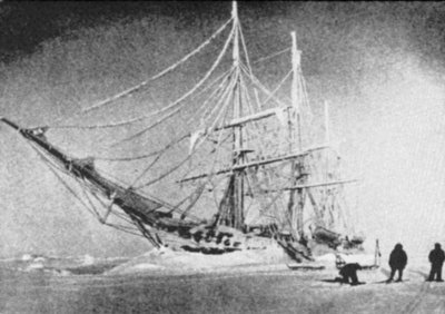 The Belgica, a Belgium research ship, the first to winter over in the Arctic.