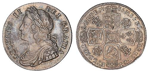 1736 Shilling. From http://www.coins-of-the-uk.co.uk/pics/onesh.html
