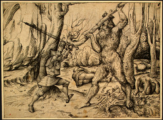 A knight and a wildman fight in a forest. By Hans Burgkmair.