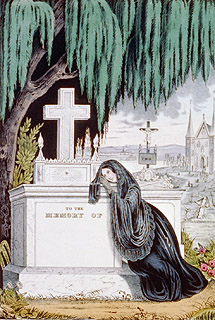 v An 1846 mourning print, complete with swooning mourner.