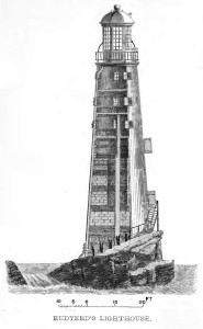 The Eddystone Lighthouse that burned, causing the death of Henry Hall.