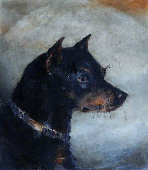 Black Dog, Aline Thellusson, c. 1875, Brodsworth Hall. http://www.bbc.co.uk/arts/yourpaintings/paintings/a-black-dog-68634