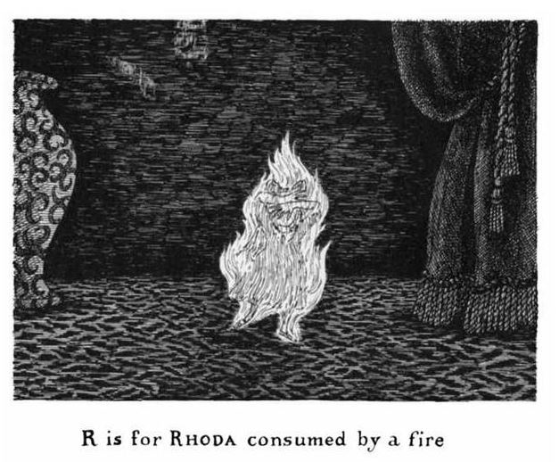 """Rhoda"" from The Gashlycrumb Tinies, by Edward Gorey"