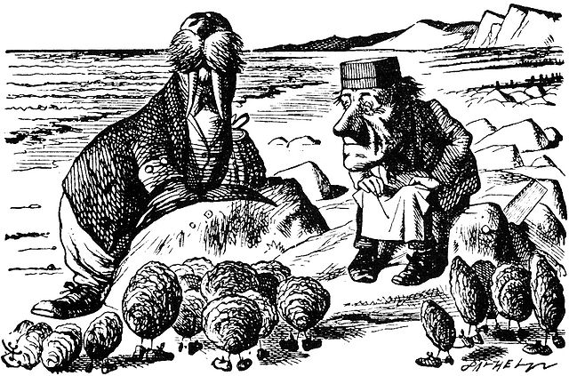 Dead as a Doornail: The Carpenter of Doom John Tenniel illustration of the Walrus and the Carpenter, with oysters.