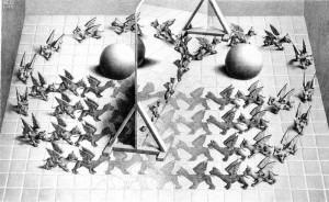"""Magic Mirror"" by Official M.C. Escher website.. Licensed under Fair use via Wikipedia - http://en.wikipedia.org/wiki/File:Magic_Mirror.jpg#mediaviewer/File:Magic_Mirror.jpg"