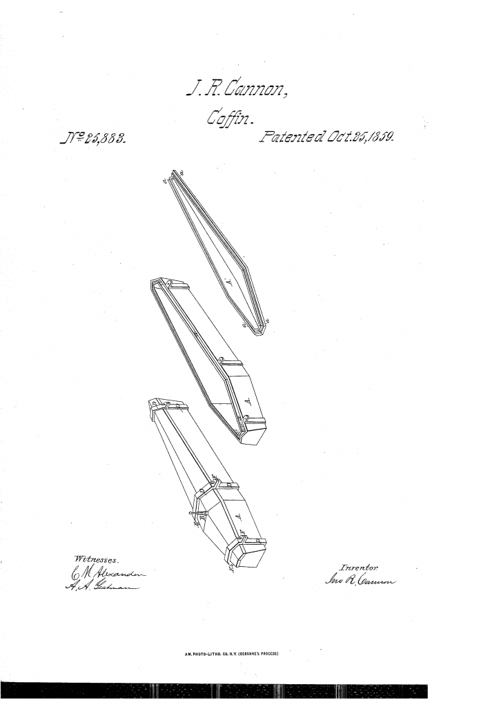 A Man of Vision: the Glass Coffin Inventor An 1859 patent sketch for a glass coffin.