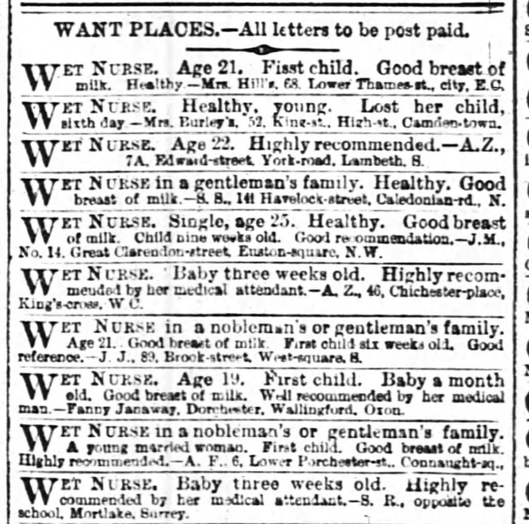 A Clairvoyant Chooses the Wet-Nurse 1860 wet nurse ads The_Times_Fri__May_4__1860_p 31 WET NURSE ADS