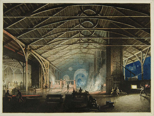 The Ironworks at Cyfarthfa Cyfarthfa Iron Works at Night by Penry Williams, 1825 Source: Wikipedia