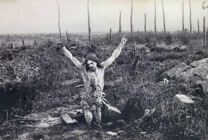 "It was the Portugese soldiers (during the Battle of the Lys in 1918) who took the ""Christ of the Trenches"" into their positions with them. The figure is now in Portugal commemorating Portugal's Unknown Soldier. http://www.ww1battlefields.co.uk/others/neuve_chapelle_short.html"