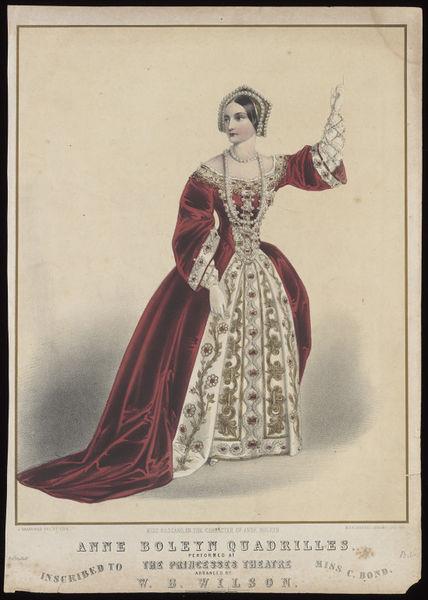 "An Indignant Anne Boleyn Defends Her Honor from Beyond the Grave 19th century print of the ""Anne Boleyn Quadrille"" http://collections.vam.ac.uk/item/O181375/h-beard-print-collection-print-brandard-john/"