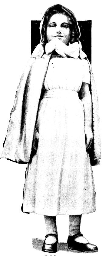 "Young Patience Worth Curran in the ""Puritan"" clothes selected by her ""spirit mother."""