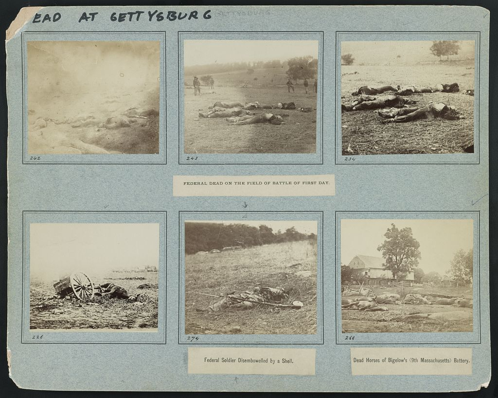 Recovering a Corpse at Gettysburg: A Marvellous Dream The dead at Gettysburg on the first day of the battle. Library of Congress images.