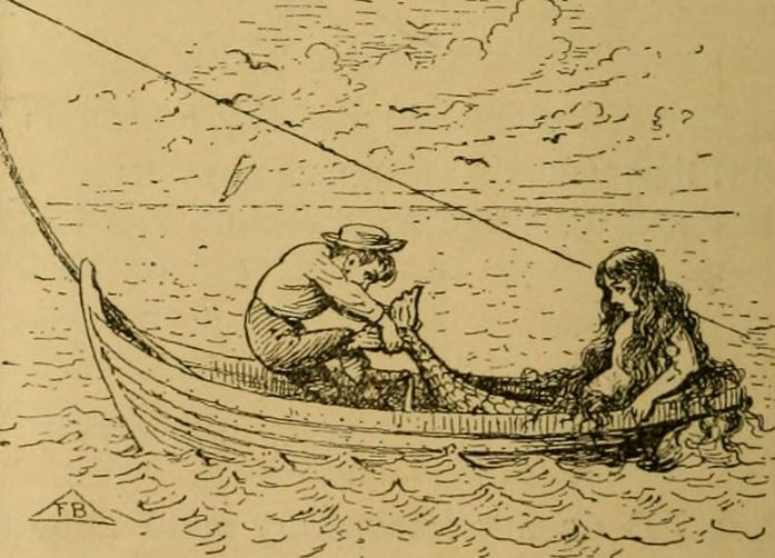 The mermaid has Charley take off her tail for bait, 1887