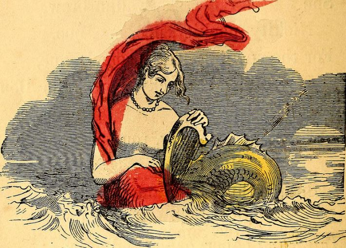 A mermaid wearing a red scarf plucks a woefully undersized harp. c. 1800