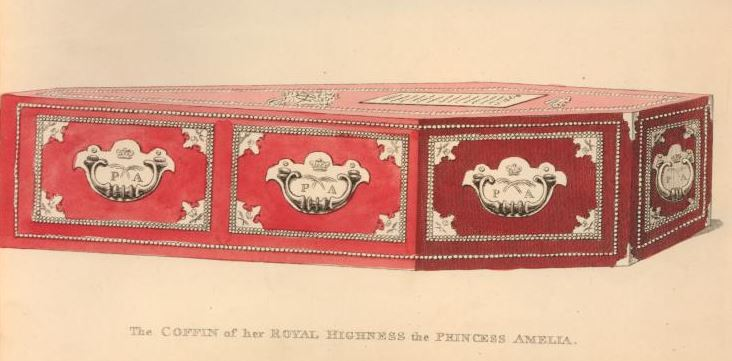 The Coffin of HRH Princess Amelia, showing the beautiful coffin furniture, including a coffin plate. http://www.britishmuseum.org/research/collection_online/collection_object_details/collection_image_gallery.aspx?assetId=1612960923&objectId=3587418&partId=1