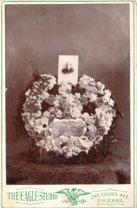 Funeral wreath with coffin plate and photo of deceased. Private Collection