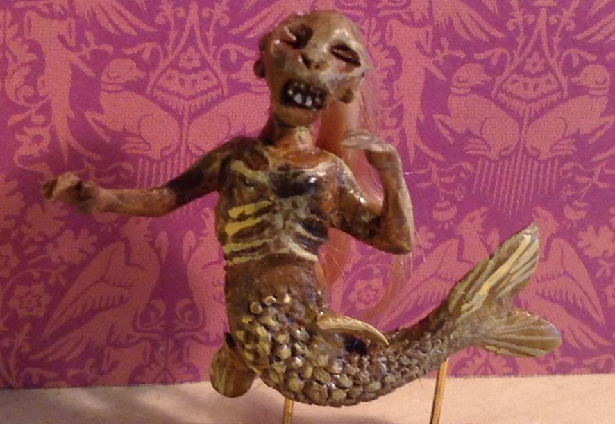 Feejee mermaid in miniature by Jessica Wiesel.