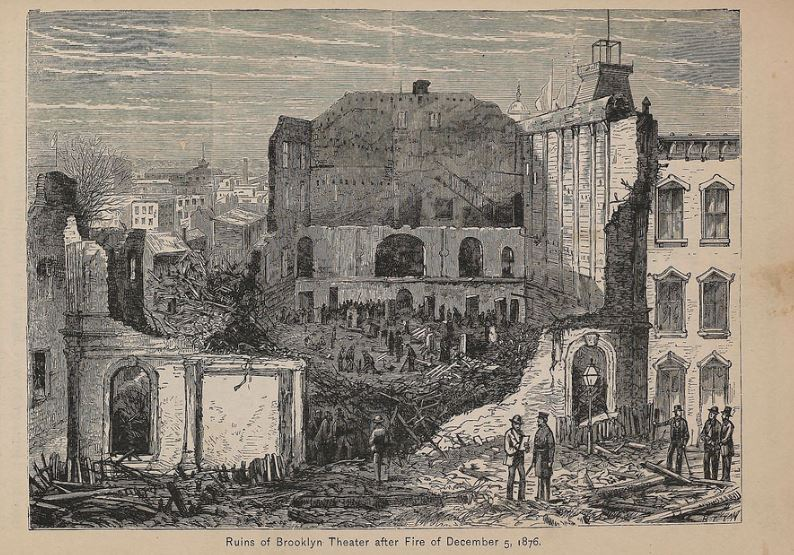 Ruins of the Brooklyn Theater after the fire.