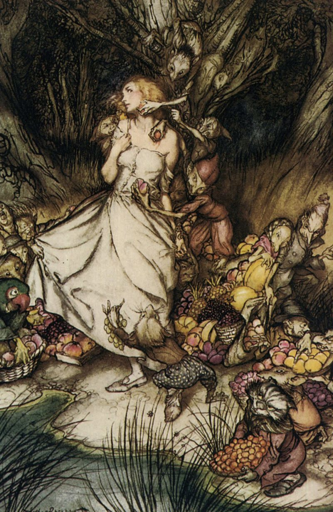 "Taken by the Fairies in Dubuque Illustration for ""Goblin Market,"" Christina Rossetti, by Arthur Rackham, 1933"