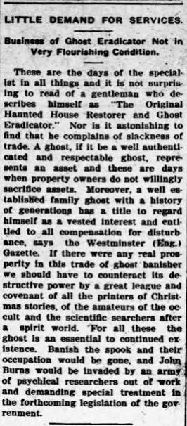 Columbus [NE] Journal 7 April 1909: p. 8 on the Ghost Eradicator