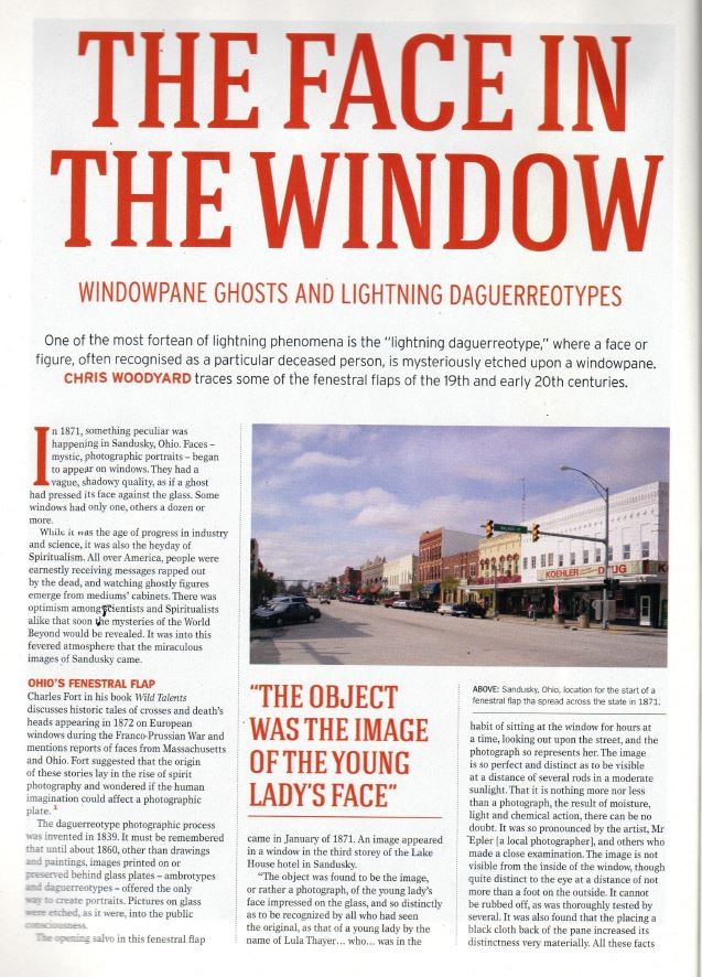 Damned Images - Happy Birthday, Charles Fort! The Face in the Window article on damned images from Fortean Times Magazine.