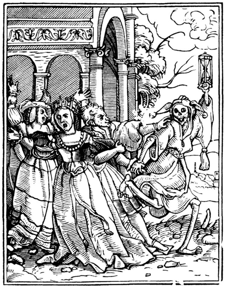 Hans Holbein, The Dance of Death, the Queen. 1526-7 https://ebooks.adelaide.edu.au/h/holbein/hans/dance/complete.html