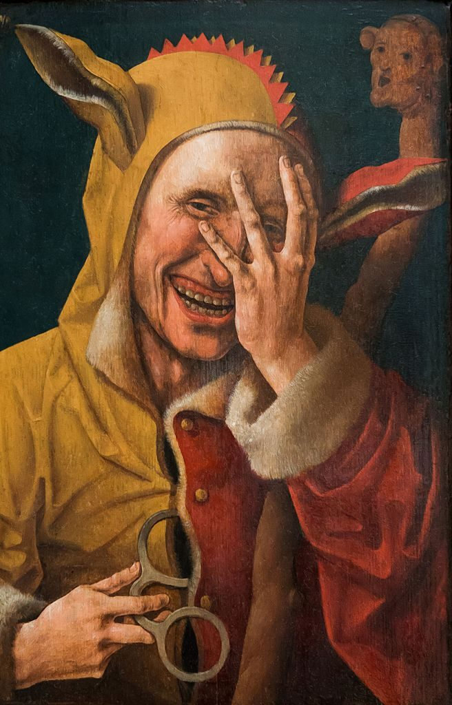 Laughing Fool, Netherlandish, possibly Jacob Cornelisz van Oostsanen, c. 1500 http://www.wellesley.edu/DavisMuseum/collections/provenance_research.html *http://mobius.wellesley.edu/detail.php?t=objects&type=all&f=&s=Laughing+Fool+Oostsanen&record=0 *http://mobius.wellesley.edu/browser.php?m=objects&kv=12940&i=17315