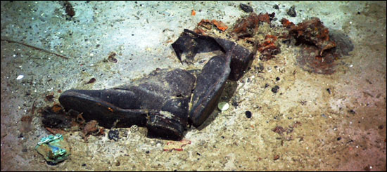 Dead Men's Shoes. Shoes found on the seabed at the site of the Titanic.
