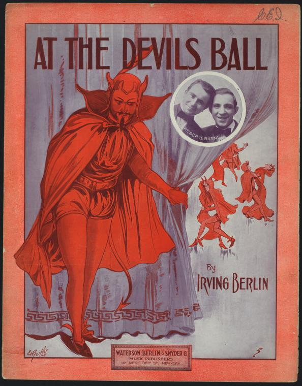 The Jersey City Devil, At the Devil's Ball, sheet music, Irving Berlin. http://digitalcollections.nypl.org/items/510d47da-52ed-a3d9-e040-e00a18064a99