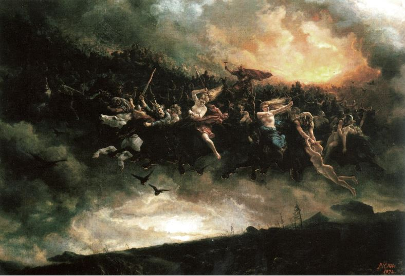 Oskorei and Haug-folk - The Dangers of a Norwegian Christmas By Peter Nicolai Arbo - Photo of a painting in the Nasjonalgalleriet, Oslo, Public Domain, https://commons.wikimedia.org/w/index.php?curid=25686540
