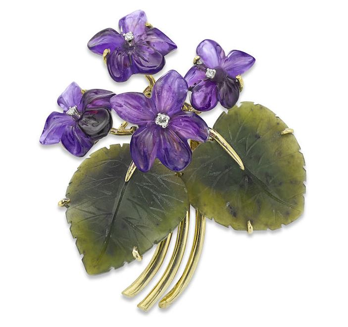 A Bit of the Old Ultra Violet Carved amethyst violets. http://www.bonhams.com/auctions/23504/lot/239/?category=list&length=10&page=25