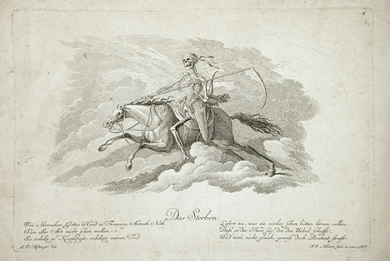 Horses That Scent Death Death on a Horse, Johann Esaias Nilson, 18th c. http://collections.lacma.org/node/248498