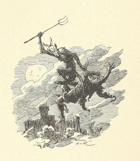 Some Discontented Daemon carries his victim aloft. Les Châteaux suisses. Anciennes anecdotes et chroniques, 1896, British Library