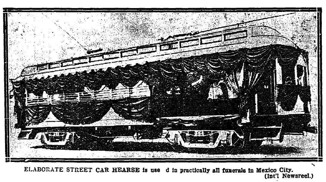 Elaborate street car hearse, 1923