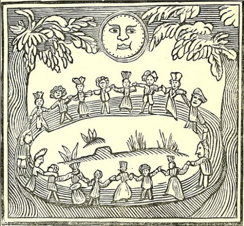 "Curious Little People Fairies dancing in a ring from ""Chapbooks of the Eighteenth Century,"" 1882"