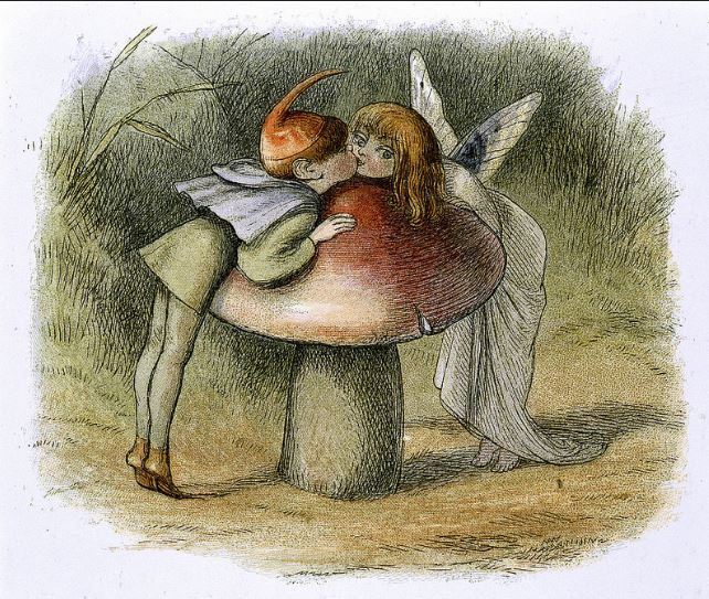 The Fairy Kiss Fairies kissing over a toadstool, Richard Doyle, 1870