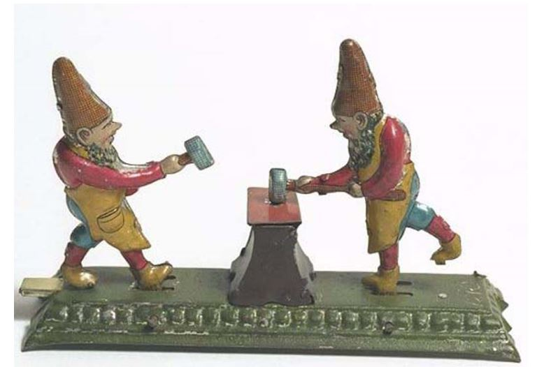 Harold the Goblin Boss. These goblins or gnomes are hard at work. Mechanical tinplate toy, 1907 http://collections.museumoflondon.org.uk/online/object/66297.html