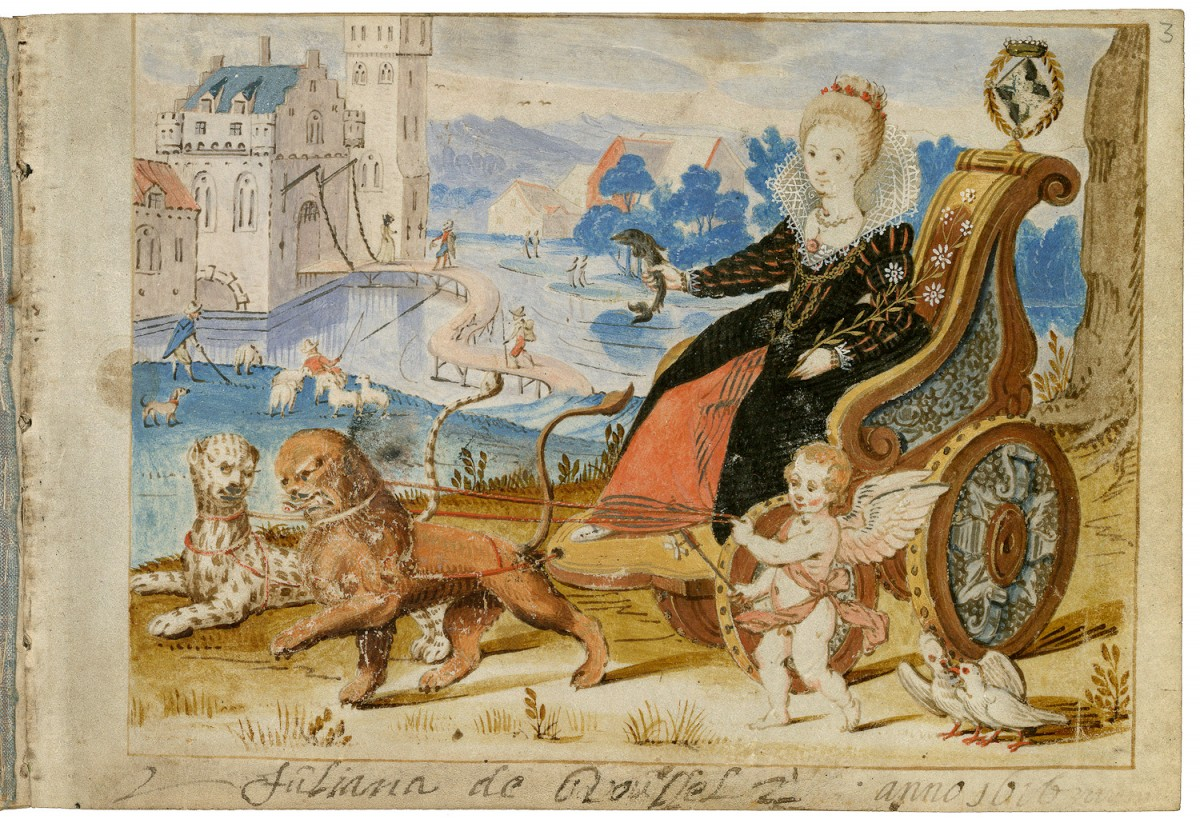 Venus, in her carriage drawn by cats, Juliana de Roussel, 1669 http://www.europeana.eu/portal/record/92075/673C25DAAC67C2CE3CE47E44E4688514E0833D7B.html?start=31&query=book&startPage=25&qf=miniature&qt=false&rows=24