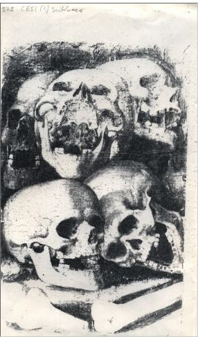 Five Skeletons Five skulls of the fiend's victims.