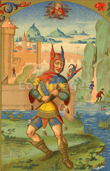 "A Fool with horned hood and devilish marotte, from the ""Cosmographie Universelle"" of Munster: folio (Basle, 1552). Image date: ca. 1874."