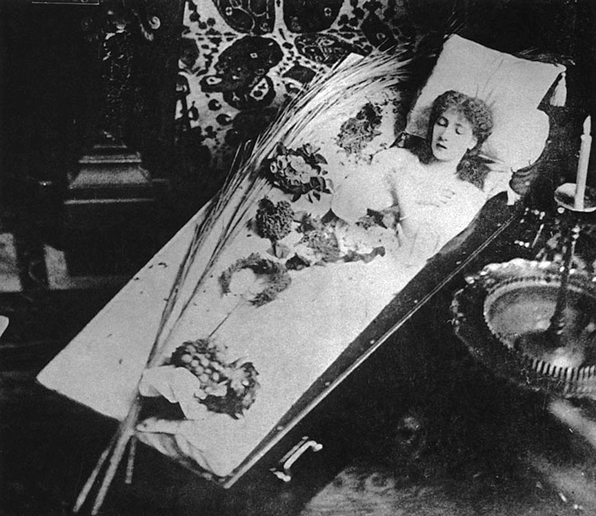 The Broom Corn Seed Funeral Swindle. Sarah Bernhardt shamming death in her coffin.