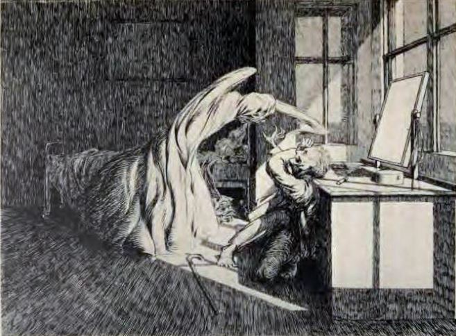 "Rocky Mountain Cry - A Colorado Banshee Illustration of the ghost with a face like crumpled linen from ""O Whistle and I'll Come to You,"" by M.R. James"