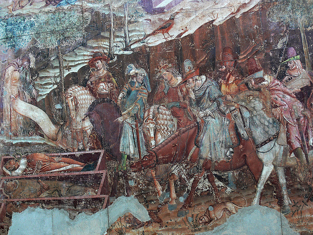 The Corpse Sat Up: Fearing the Dead The Three Living and the Three Dead, Francesco Traini Il trionfo della morte (1336-1341). Triumph of death. The living and the dead.