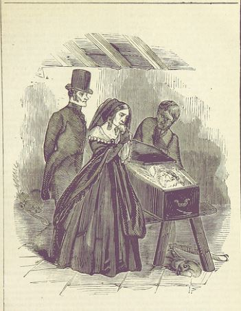 The Frost Coffin. Man and woman viewing a corpse in a coffin, 1848, similar to the frost coffin image.