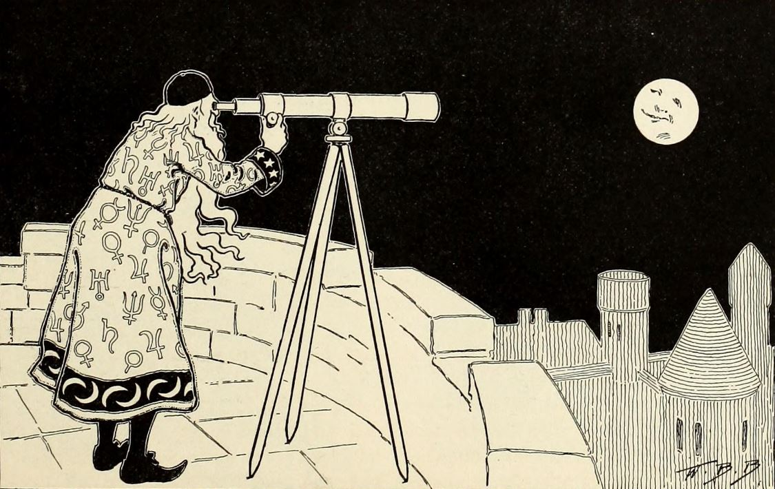 wizard looking at moon with telescope